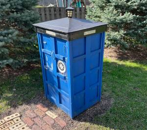 Doctor Who TARDIS Little Free Library in West St. Paul