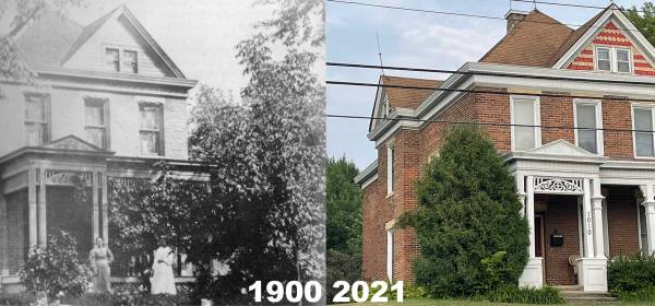 Hurley House in 1900 and 2021