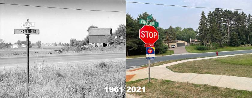The intersection of Marie and Charlton in West St. Paul in 1961 and 2021.