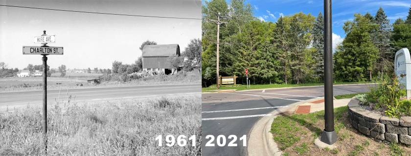 Corner of Marie and Charlton looking northwest in 1961 and 2021