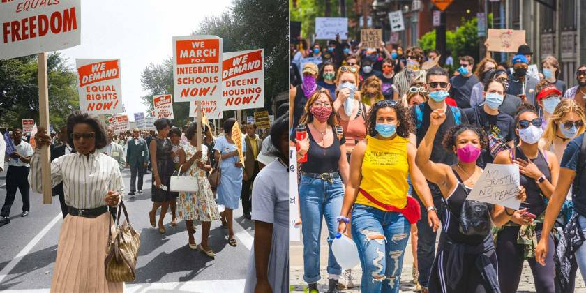 Civil rights protests in the 1960s and 2020s