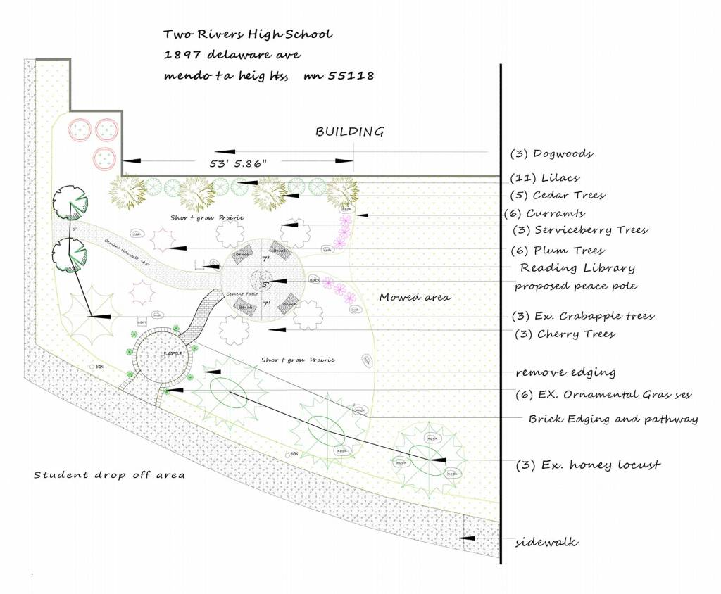 Architectural plan for peace garden at Two Rivers High School.