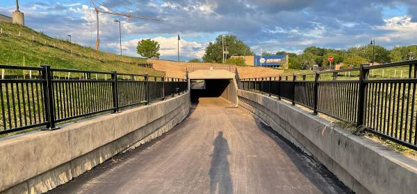 Robert Street underpass on the River-to-River Greenway trail