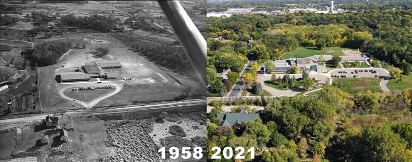 Garlough Environmental Magnet School in 1958 and 2021