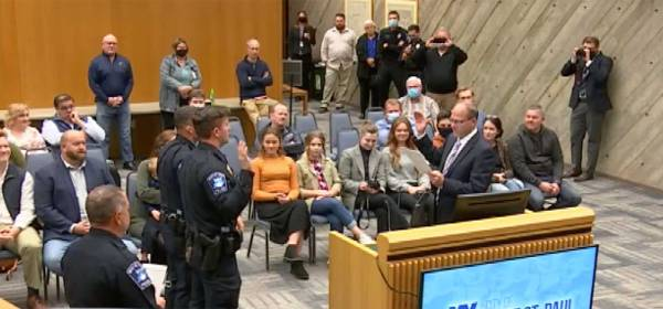 Police officer swearing in ceremony at West St. Paul City Council
