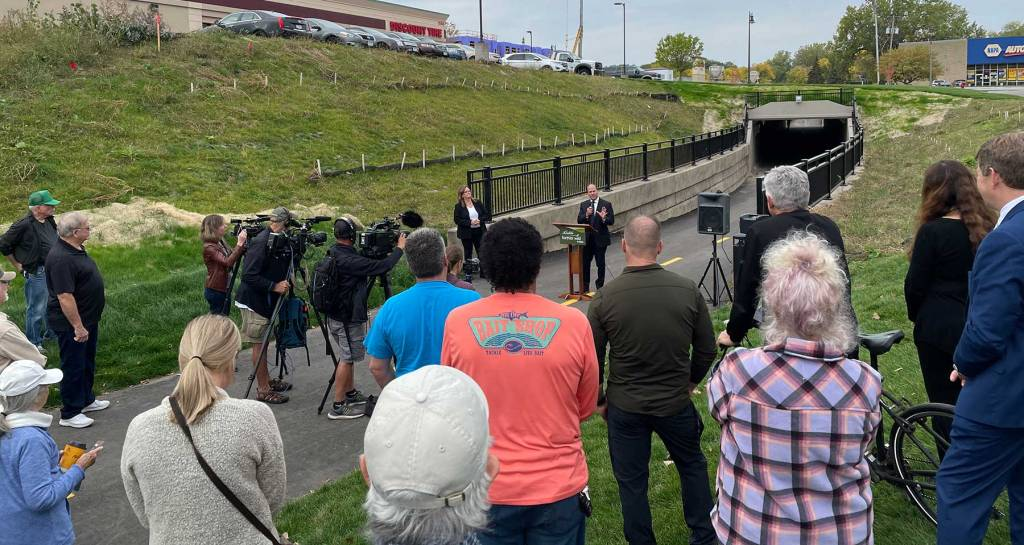 West St. Paul Mayor Dave Napier speaking at the underpass ribbon-cutting ceremony.
